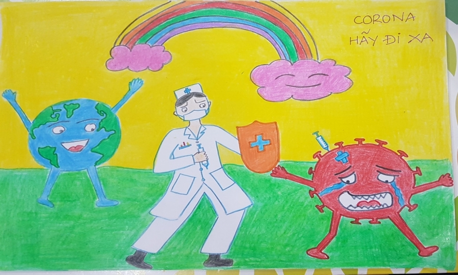 Báo Tuổi Trẻ Thủ Đô: Học sinh Hà Nội Thăng Long viết, vẽ gửi tặng y, bác sỹ tuyến đầu chống dịch